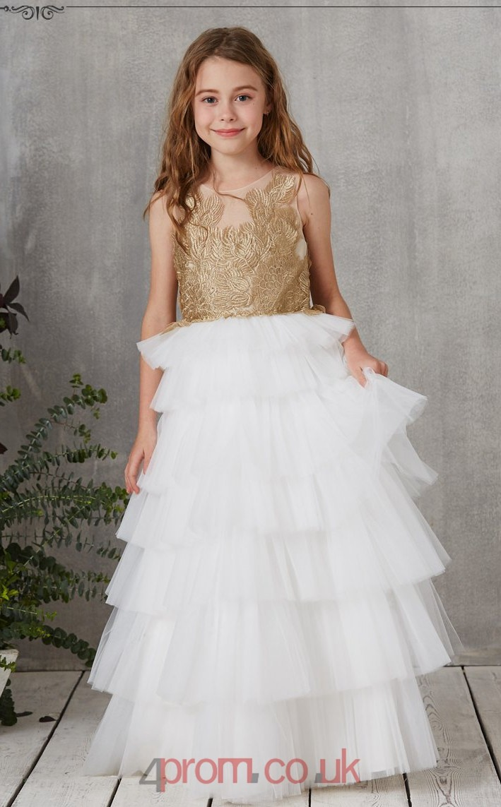 77168ee9325 Move your mouse over image or click to enlarge. You may also like. Princess  High Neck Sleeveless Ivory Organza Ankle-length Children s Prom Dress (AHC015)