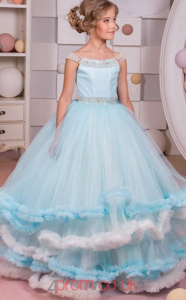 Light Blue Tulle Off The Shoulder Princess Short Sleeve