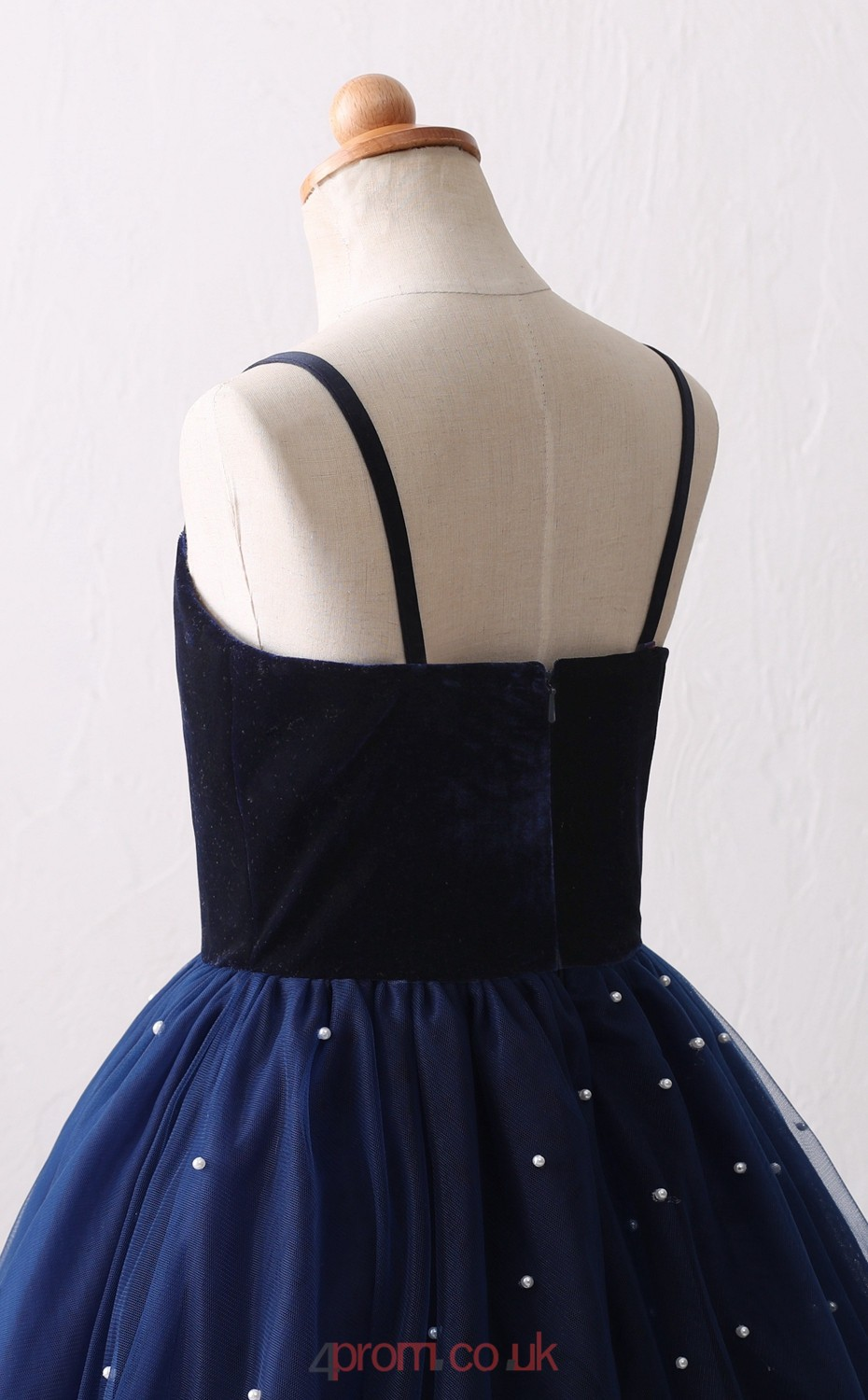 Navy Blue Tulle Princess With Straps Long Kid S Prom
