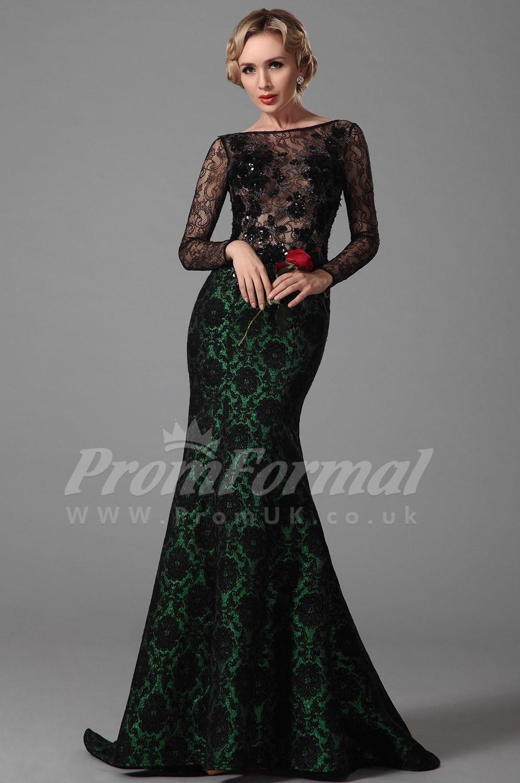 15d5dd7266 Mermaid Bateau Long Sleeve Sweep Train Black Lace Prom Dresses ...