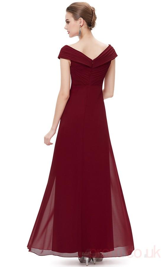 Chic Burgundy Prom Dress A-line V-neck Chiffon Long Prom