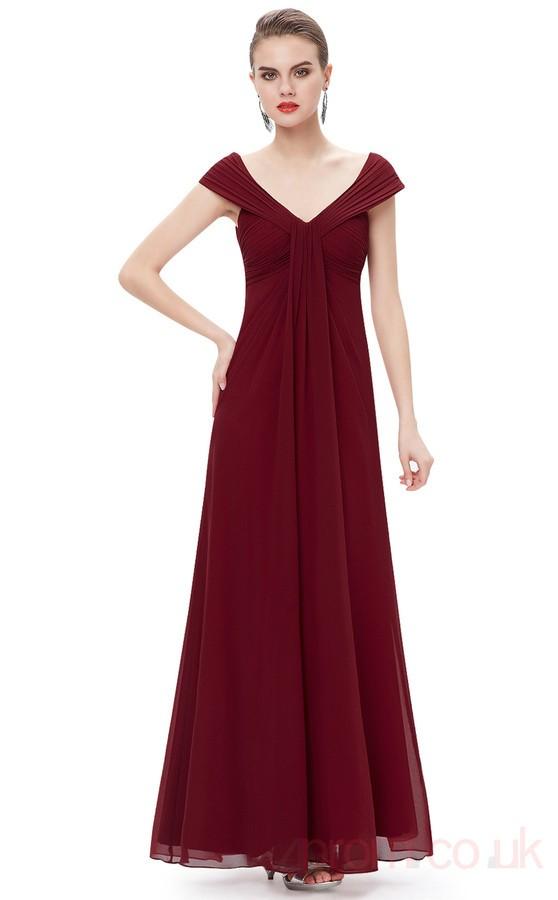 Burgundy A Line V Neck Pleated Floor Length Chiffon Prom