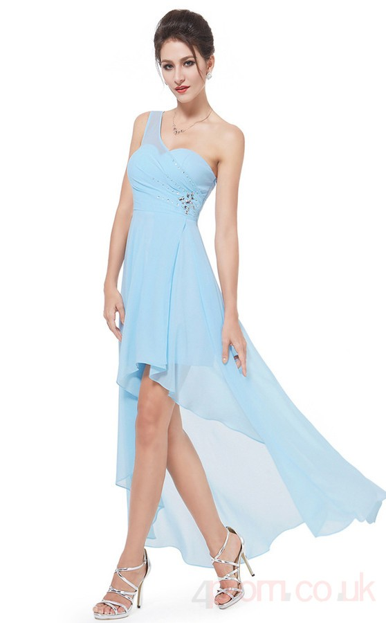 A Line Sweetheart Neckline Hi Low Sky Blue Chiffon Prom