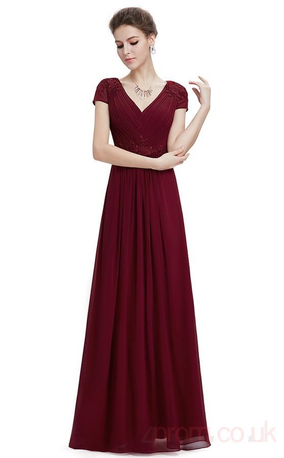 A-line V-neck Long Burgundy Chiffon Prom Dresses with