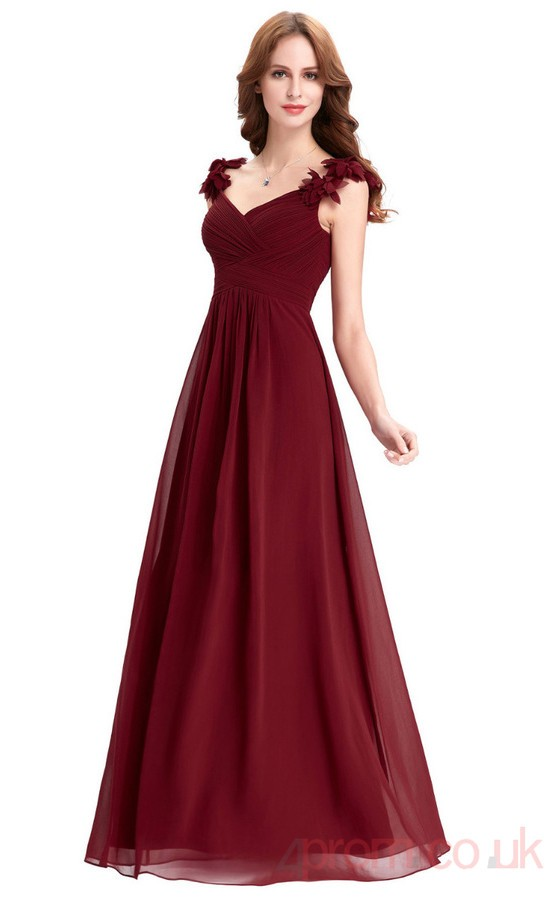 A-line V-neck Long Burgundy Chiffon Prom Dresses(PRJT04