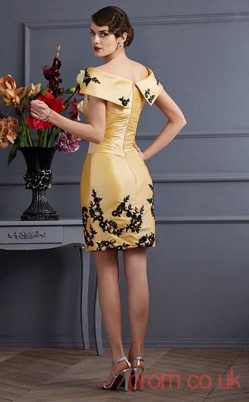 cdd24904076f Gold Stretch Satin Sheath Short Off The Shoulder Short Sleeve Graduation  Dress(JT2171) - 4prom.co.uk