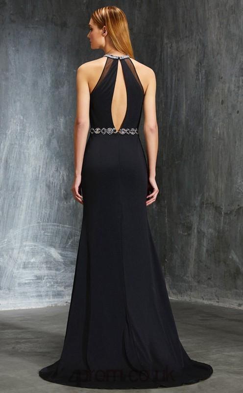 Trumpetmermaid Chiffon Black Halter Long Formal Prom Dress With