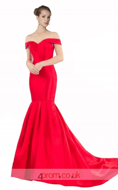 Ruby Stretch Satin Mermaid Off The Shoulder Short Sleeve Long Prom ...