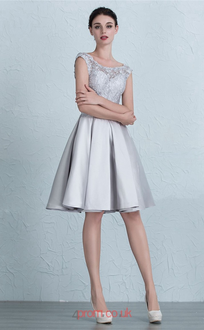 Silver Satin Lace A-line Scalloped Short Sleeve Knee-length Prom ...
