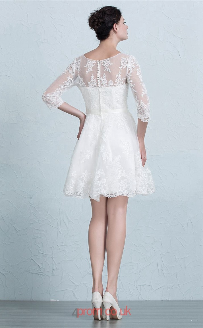 White Lace A-line V-neck 3/4 Length Sleeve Short/Mini Prom Dress ...