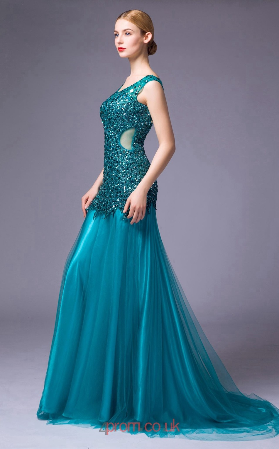 Turquoise Tulle Lace Mermaid V Neck Floor Length Prom