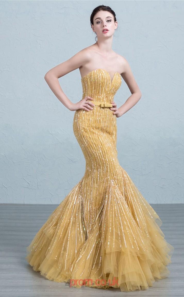 Gold Tulle Mermaid Sweetheart Floor Length Prom Dress