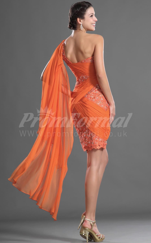 Orange Lace Chiffon Sheath One Shoulder Short Mini