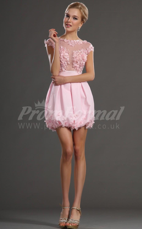 Blushing Pink Chiffon Princess Bateau Short/Mini With Sleeves ...