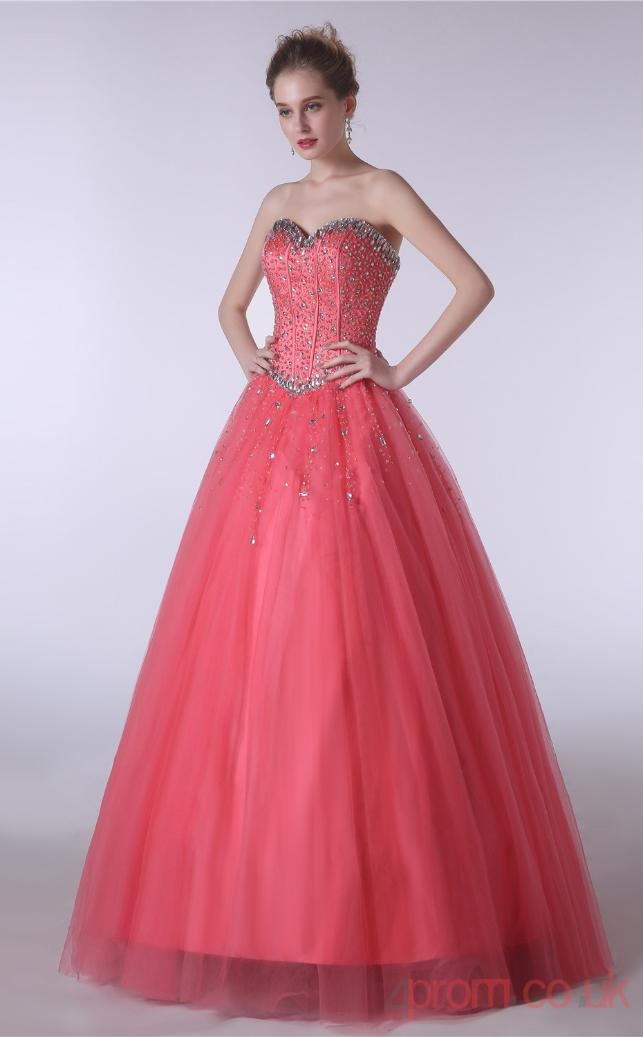 Watermelon Tulle Strenth Satin Ball Gown Sweetheart Sleeveless Prom ...