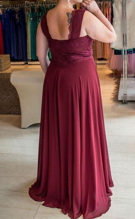 8102d7a3a8a Free Shipping Dark Burgundy Chiffon A-line V-neck Sleeveless Floor-length  Plus Size Prom Dress(PRPSD04-113) - 4prom.co.uk