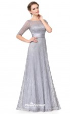 Silver Illusion Half Sleeve Bridesmaid Dresses 4MBD001