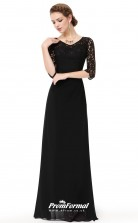 Black Half Sleeve Bridesmaid Dresses 4MBD002