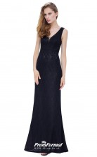 Black V-neck Bridesmaid Dresses 4MBD008
