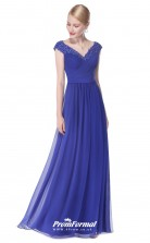 Blue V-neck Bridesmaid Dresses 4MBD016
