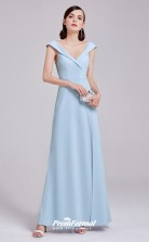 Sky Blue V-neck Bridesmaid Dresses 4MBD033