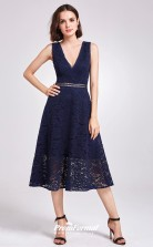 Navy Blue V-neck Bridesmaid Dresses 4MBD035