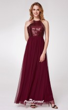 Burgundy Halter Bridesmaid Dresses 4MBD036