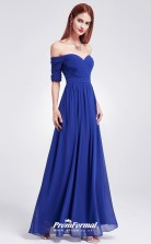 Blue Off the shoulder Bridesmaid Dresses 4MBD040