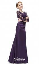 Grape V-neck Long Sleeve Bridesmaid Dresses 4MBD042