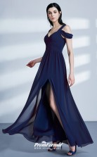 Navy Blue V-neck Bridesmaid Dresses 4MBD043