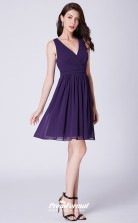 Grape V-neck Bridesmaid Dresses 4MBD045