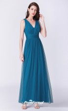 Ink Blue V-neck Bridesmaid Dresses 4MBD048