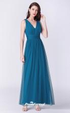 Ink Blue V-neck Bridesmaid Dresses 4MBD048