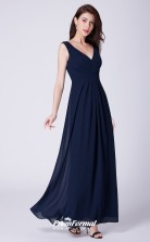 Navy Blue V-neck Bridesmaid Dresses 4MBD049