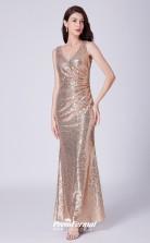 Gold V-neck Bridesmaid Dresses 4MBD051