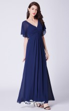 Blue V-neck Bridesmaid Dresses 4MBD053