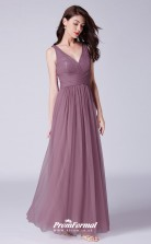 Purple V-neck Bridesmaid Dresses 4MBD057