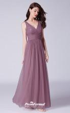 Purple V-neck Bridesmaid Dresses 4MBD057