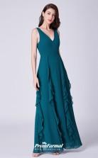 Ink Blue V-neck Bridesmaid Dresses 4MBD059