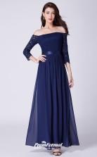 Blue Off the shoulder Long Sleeve Bridesmaid Dresses 4MBD060
