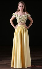 Two Piece A-line Off The Shoulder Short Sleeve Yellow Lace Tulle Satin Prom Dresses(JT-4A005)