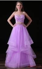 Two Piece Princess Sweetheart Sleeveless Lilac Lace Tulle Satin Prom Dresses(JT-4A008)