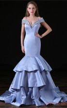 Mermaid Off The Shoulder Short Sleeve Silver Tulle Satin Prom Dresses(JT-4A009)