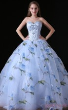 Ball Gown Sweetheart Sleeveless Light Blue Lace Tulle Stretch Satin Prom Dresses(JT-4A012)