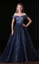 A-line Illusion Short Sleeve Navy Blue Organza Lace Satin Prom Dresses(JT-4A013)