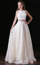 Two Piece A-line Jewel Sleeveless Ivory Tulle Satin Prom Dresses(JT-4A015)