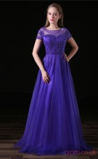 A-line Illusion Short Sleeve Purple Chiffon Stretch Satin Prom Dresses(JT-4A023)