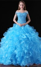 Ball Gown Off The Shoulder Short Sleeve Sky Blue Chiffon Lace Tulle Prom Dresses(JT-4A024)