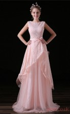 A-line Bateau Sleeveless Blushing Pink Tulle Satin Prom Dresses(JT-4A027)