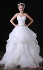 Princess Sweetheart Sleeveless White Lace Satin Prom Dresses(JT-4A029)